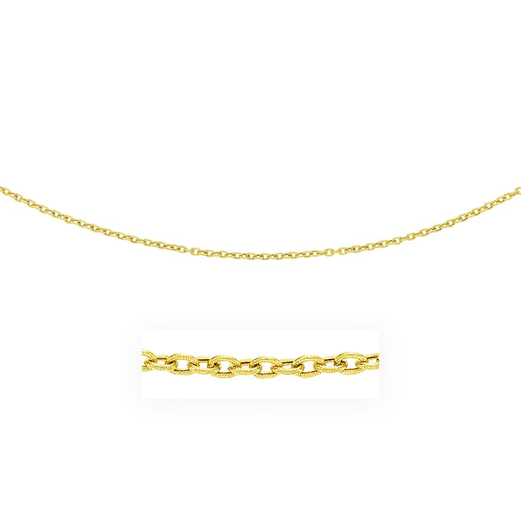 3.5mm 14k Yellow Gold Pendant Chain with Textured Links