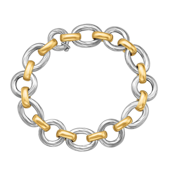 18k Yellow Gold and Sterling Silver Diamond Cut Rhodium Plated Bracelet