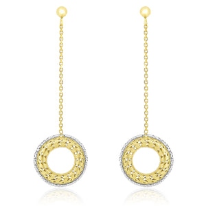 14k Two-Tone Gold Mesh Donut Motif Chain Dangling Earrings