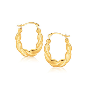 10k Yellow Gold Oval Twist Hoop Earrings