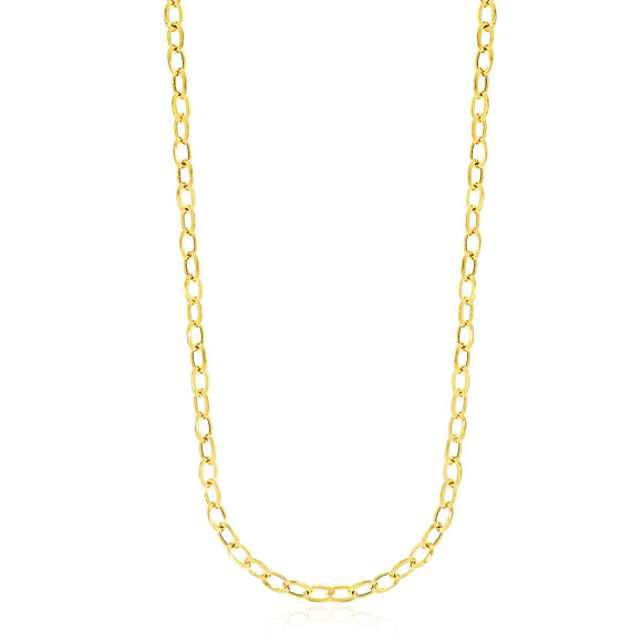 14k Yellow Gold Cable Chain Style Polished Necklace