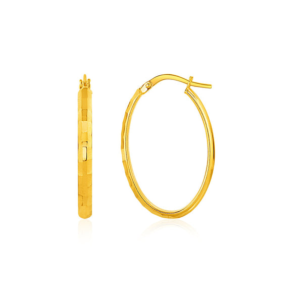 Shiny Oval Hoop Earrings in 10k Yellow Gold
