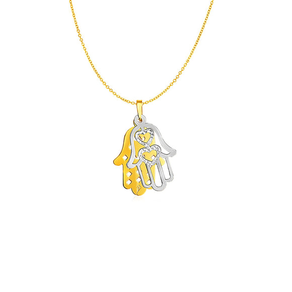 Two Layer Hamsa Pendant in 14k Two Tone Gold