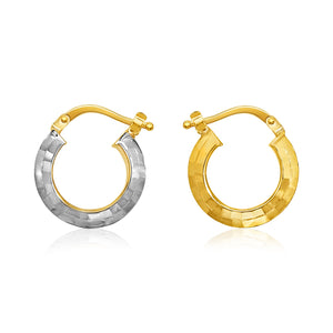 14k Two-Tone Gold Double Sided Diamond Cut Textured Hoop Earrings