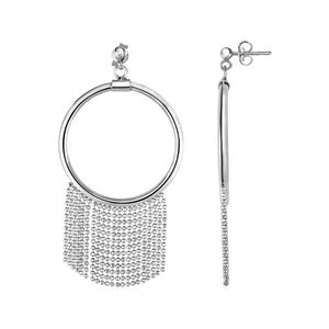Polished Ring Earrings with Chain Tassels in Sterling Silver