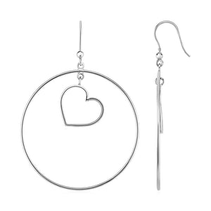 Earrings with Polished Circle and Heart Drops in Sterling Silver