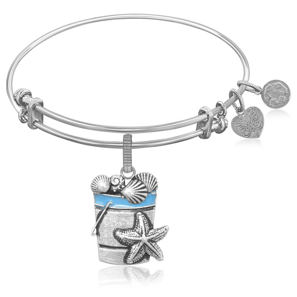 Expandable Bangle in White Tone Brass with Beach Bucket with Sea Shells Symbol