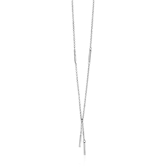 Lariat Necklace with Polished Bars in Sterling Silver