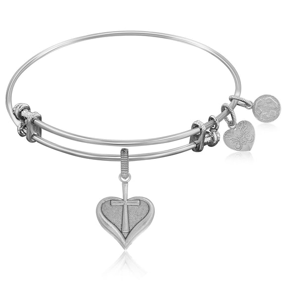 Expandable Bangle in White Tone Brass with Heart With Cross Symbol