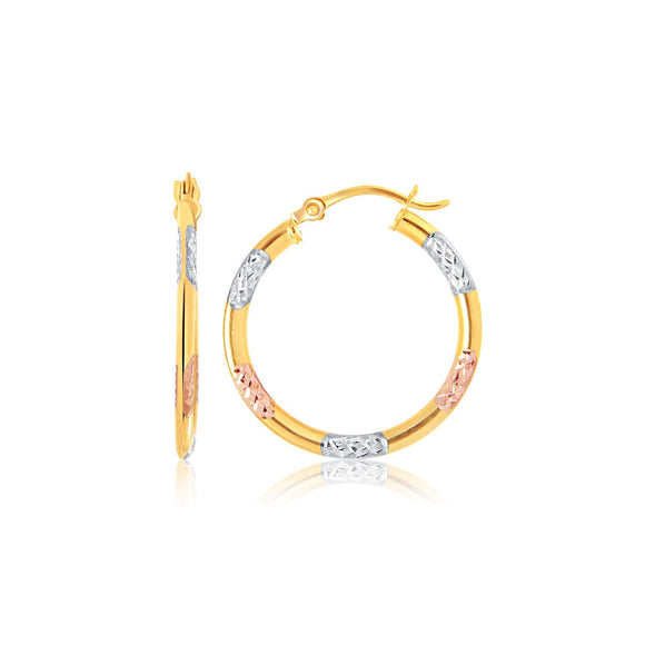 10k Tri-Color Gold Classic Hoop Earrings with Diamond Cut Details