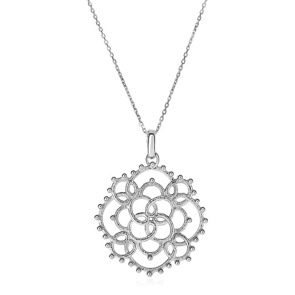 Textured Loop Pattern Pendant in Sterling Silver
