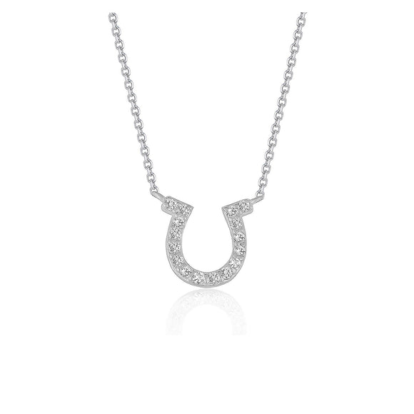 14k White Gold Horseshoe Design Diamond Pendant