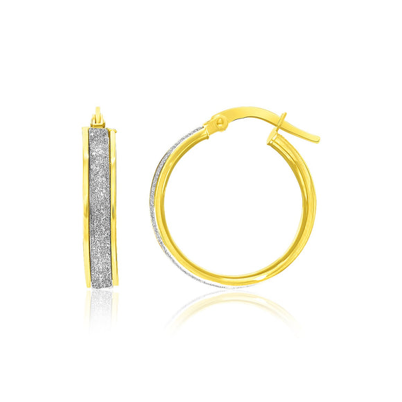 14k Two-Tone Gold Glittery Center Hoop Earrings