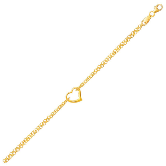 10k Yellow Gold Double Rolo Chain Anklet with an Open Heart Station