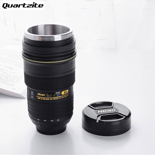 Stainless Steel Insulated Camera Lens Coffee Tumbler (Modeling Nikon AF S  NIKKOR 24