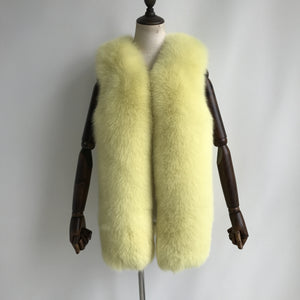"""Yellow Gaelle"" Fox Fur Vest"
