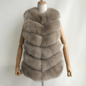 """Beige Louna"" Short Fox Fur Vest"