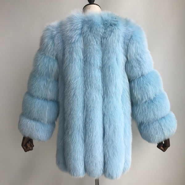 """Baby Blue Grace"" Fox Fur Coat"