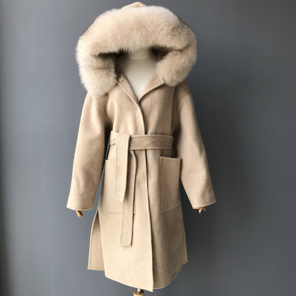 """Beige Zoe"" Hooded Cashmere Coat"