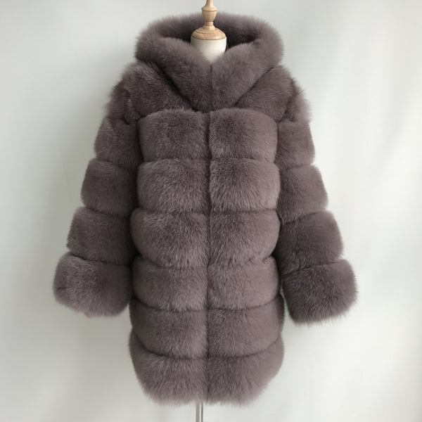 """Pastel Brown Lucia"" Hooded Transformer Fox Fur Coat"