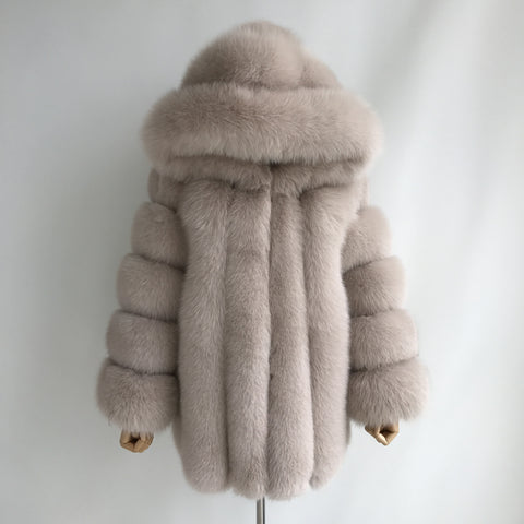 """Beige Grace"" Hooded Fox Fur Coat"