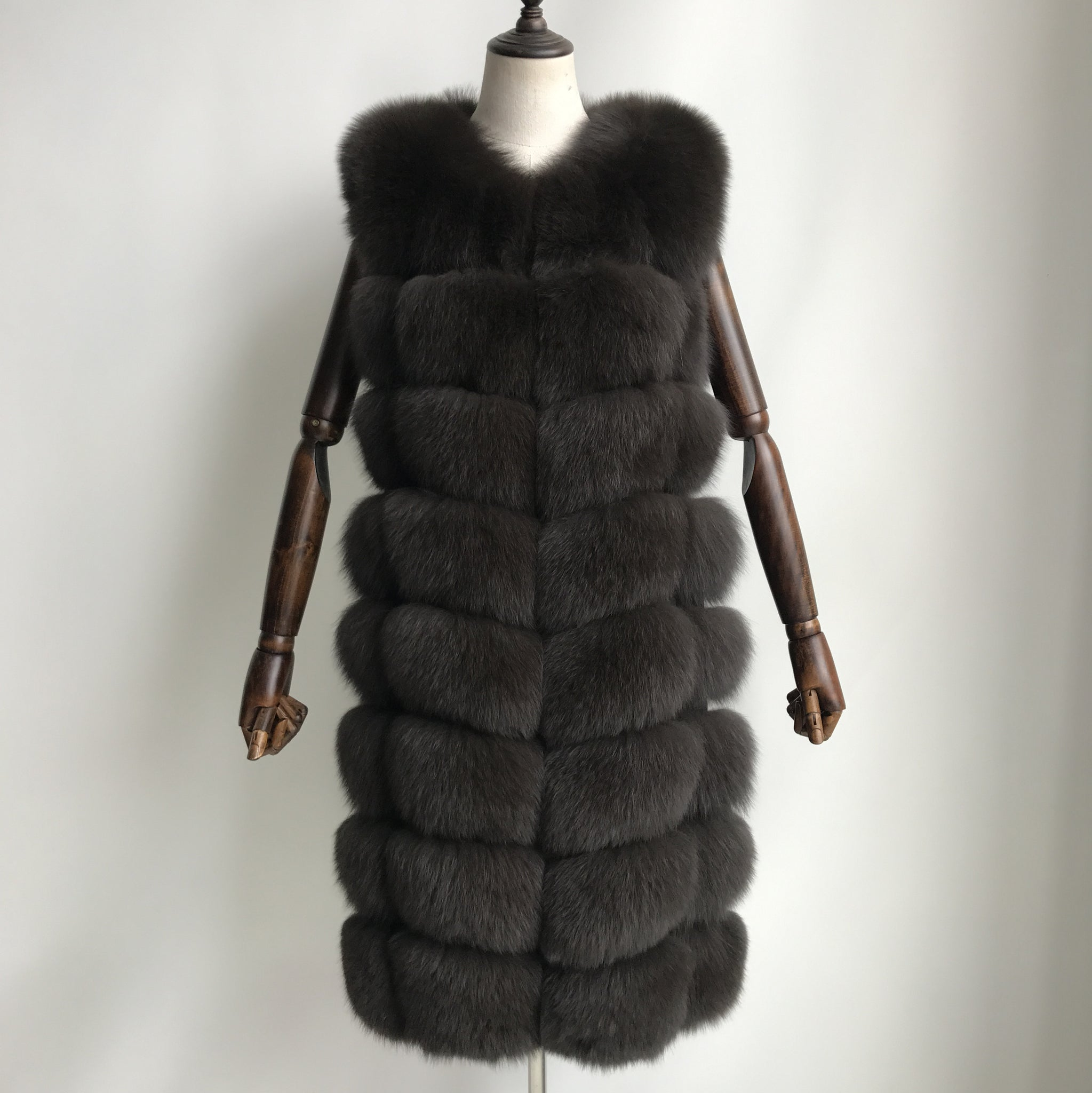 """Dark Brown Amelie"" Fox Fur Vest"