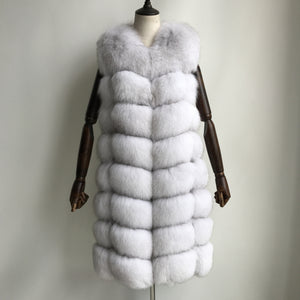 """Natural White Amelie"" Fox Fur Vest"