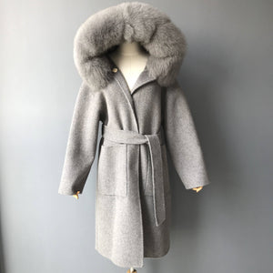 """Grey Zoe"" Hooded Cashmere Coat"