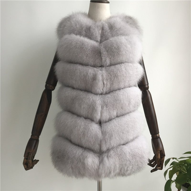 """Natural White Louna"" Short Fox Fur Vest"
