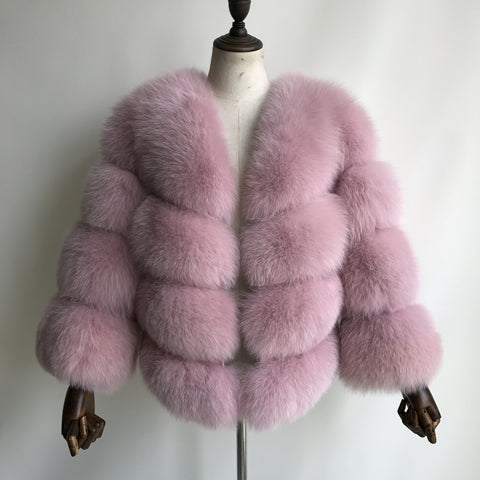 """Cotton Pink Louna"" Fox Fur Jacket"