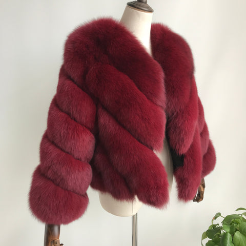 """Wine Red Luisa"" Fox Fur Jacket"