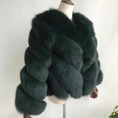 """Forest Green Luisa"" Fox Fur Jacket"