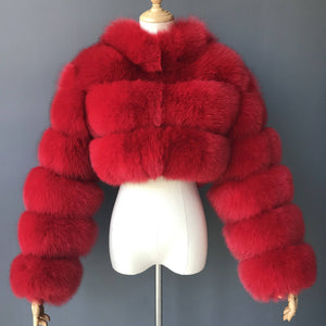 """Red Kim"" Cropped Fox Fur Jacket"
