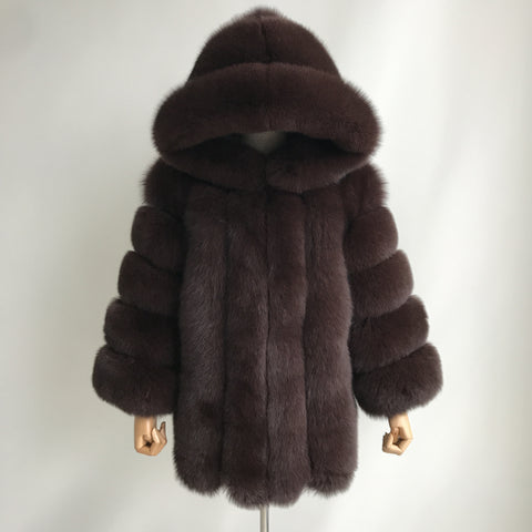 """Brown Grace"" Hooded Fox Fur Coat"