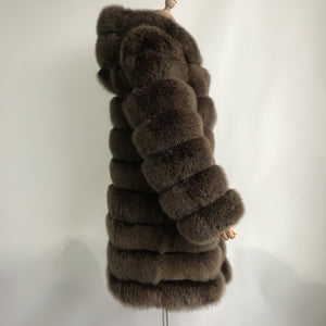 """Brown Lucia"" Hooded Transformer Fur Coat"