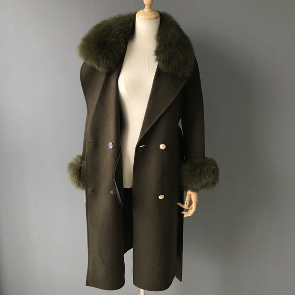 """Military Green Diana"" Cashmere Coat"