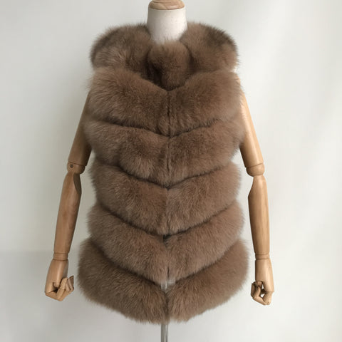 """Camel Louna"" Short Fox Fur Vest"