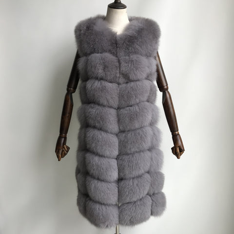 """Ash Grey Amelie"" Fox Fur Vest"