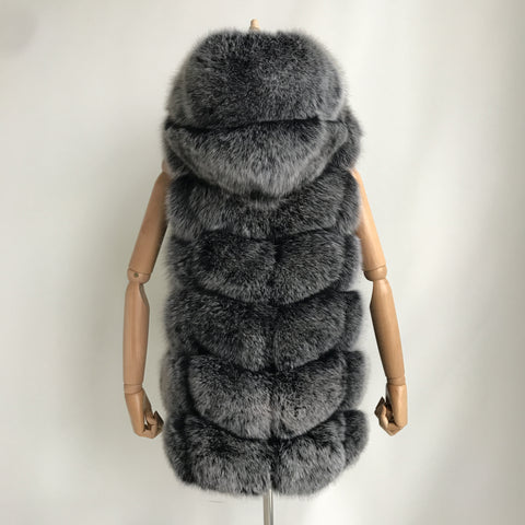 """Frosted Amelie"" Hooded Fox Fur Vest"