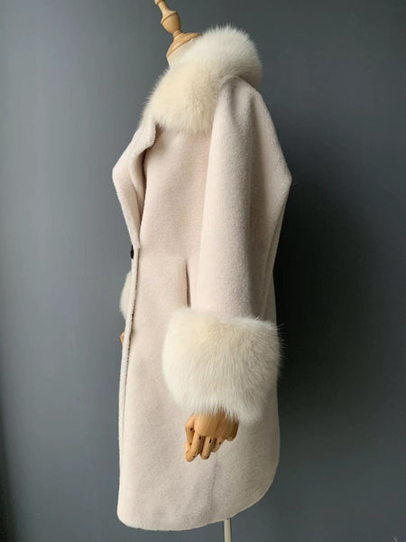 """Cream Kennedy"" Wool Trench Coat"