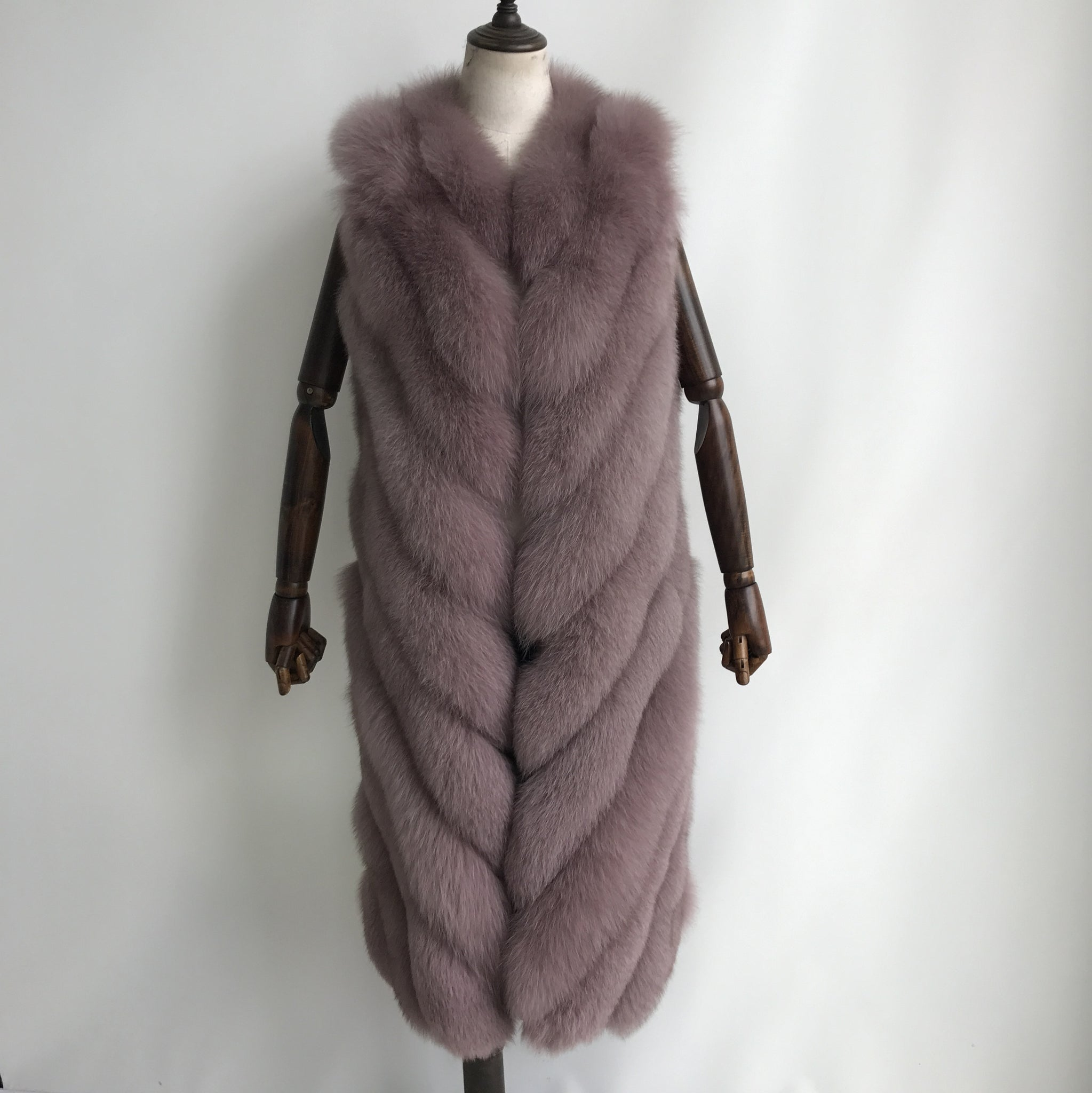 """Chalk Pink Noelle"" Fox Fur Vest"