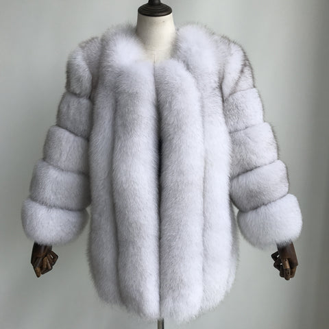 """Natural White Grace"" Fox Fur Coat"