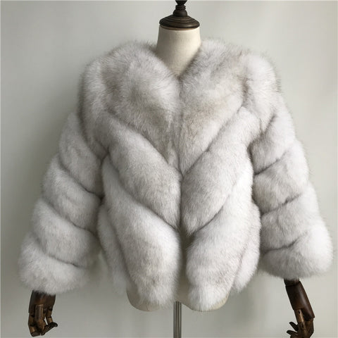 """White Luisa"" Fox Fur Jacket"