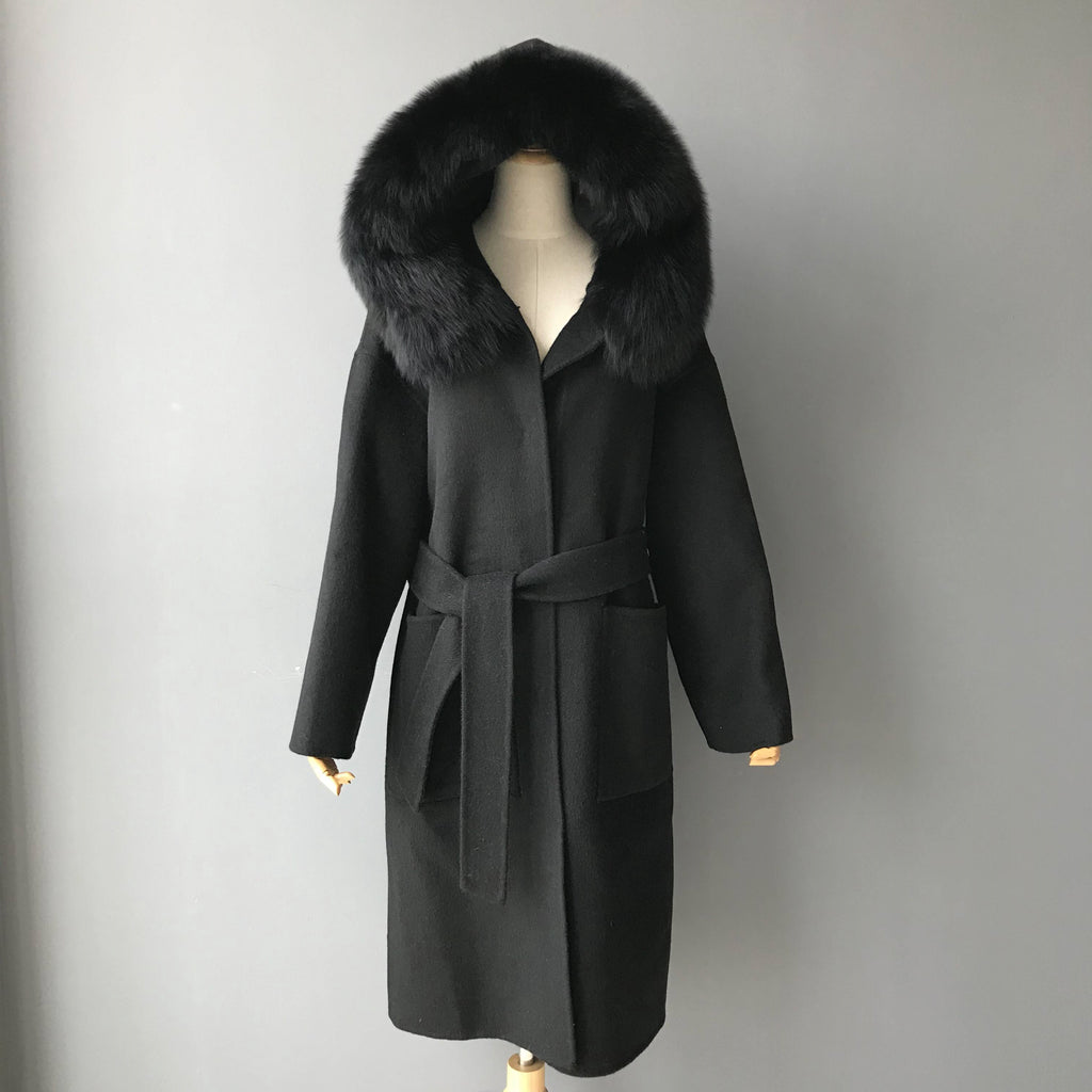 """Black Zoe"" Hooded Cashmere Coat"