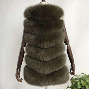 """Army Green Louna"" Short Fox Fur Vest"