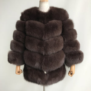 """Brown Louna"" Fox Fur Coat"
