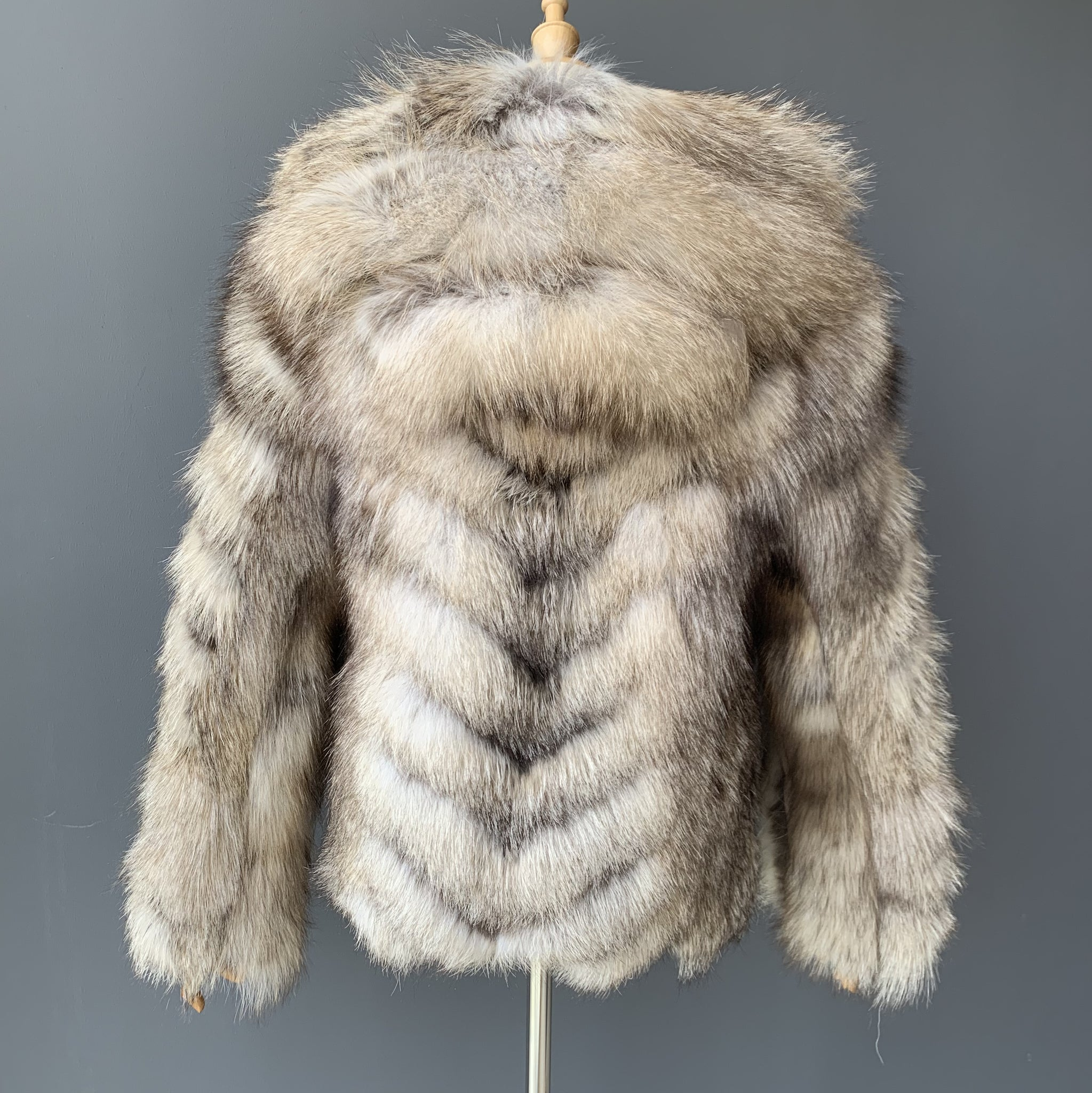 """Cecile"" Hooded Fox Fur Jacket"