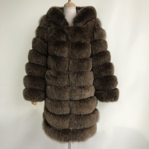 """Brown Lucia"" Hooded Transformer Coat"