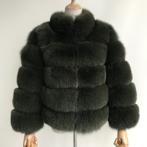 """Forest Green Lucia"" Fox Fur Coat"