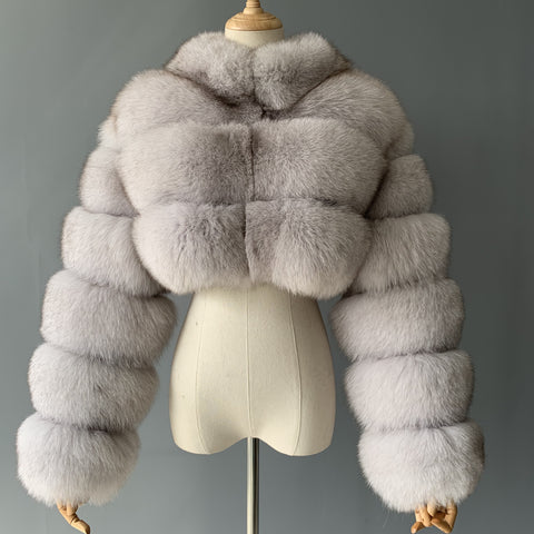 """Natural White Kim"" Cropped Fox Fur Jacket"